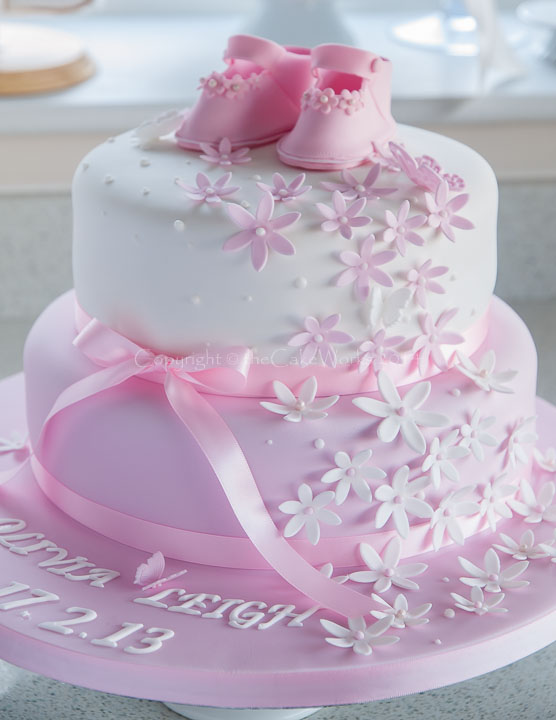 5 Out Of Stars Pink Flower Christening Cake